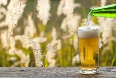 享用与草花草甸风景的啤酒 免版税库存图片