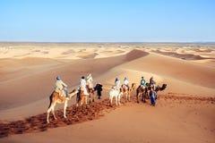 享用与骆驼有蓬卡车的游人在撒哈拉大沙漠 Merzouga,摩洛哥 免版税库存图片