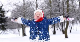 享用冬天和雪的一个微笑的小女孩的一张明亮的正面照片 库存图片