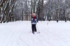 享用冬天和雪的一个微笑的小女孩的一张明亮的正面照片 免版税库存图片