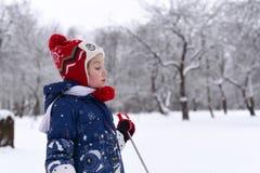 享用冬天和雪的一个微笑的小女孩的一张明亮的正面照片 免版税库存照片