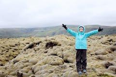 享用冰岛的孩子 免版税库存照片
