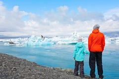 享用冰岛的家庭 免版税库存图片