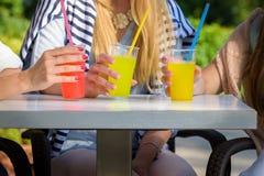 享用在一个室外咖啡馆,友谊概念的女朋友鸡尾酒 免版税库存照片