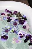 享用在您的浴盆的花 库存照片