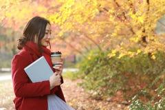 享用外带的咖啡杯的匿名妇女在晴朗的冷的秋天天坐在树下 免版税库存图片