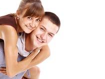 享用女性愉快的年轻人 库存照片