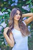 享用开花的丁香的气味年轻美丽的妇女在一个晴天 免版税库存照片