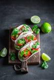 享用您的炸玉米饼作为一道小新鲜和鲜美开胃菜 免版税库存照片