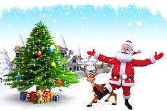 享用有鹿和圣诞树的圣诞老人 库存照片
