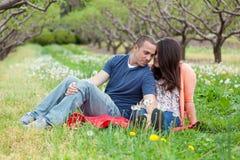 在春天期间的爱恋的夫妇 免版税库存照片