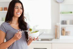 享用沙拉妇女的有吸引力的碗 库存图片