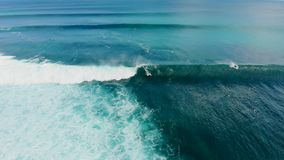 享用波浪,他们的等待波浪的委员会的冲浪者的冲浪者鸟瞰图 股票录像