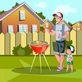 享用烤肉的家庭户外 库存例证