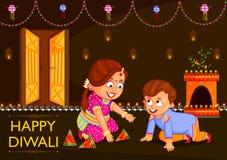 享用爆竹的孩子庆祝印度的屠妖节节日 库存例证
