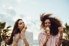 享用的朋友吃冰淇淋 免版税库存图片
