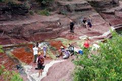 享用红色峡谷的家庭在亚伯大 库存照片