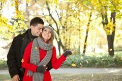 享用落的叶子的夫妇 免版税库存照片