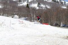 享用雪的滑雪者 库存图片