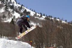 享用雪的滑雪者 免版税图库摄影