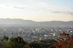 京都市视图在晚上 免版税库存照片
