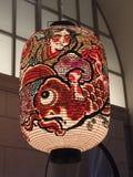 京都美妙地装饰的日文报纸灯笼  免版税库存照片