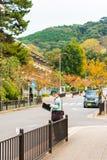 京都,日本- 2017年11月7日:城市街道的一个被掩没的人 复制文本的空间 垂直 免版税图库摄影
