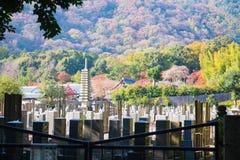 京都,日本- 2017年11月17日:日本墓碑和gra 免版税库存图片