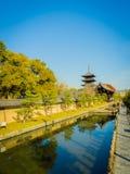 京都,日本- 2017年7月05日:Yasaka塔Gion Higashiyama区京都美丽的景色  库存照片