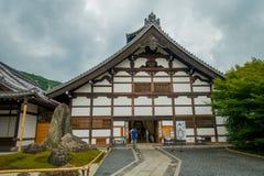 京都,日本- 2017年7月05日:在Arashiyama的主要亭子Tenryu籍寺庙,在京都附近 日本 Tenryuji Sogenchi池塘 免版税图库摄影