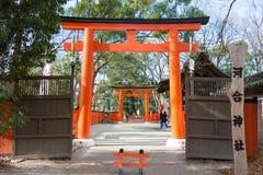 京都,日本- 2015年1月12日:在Shimogamo籍的河井jinja寺庙 库存照片