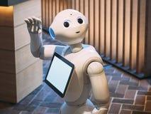 京都,日本- 2017年4月14日:胡椒机器人助理问好问候 库存照片