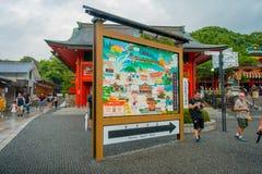 京都,日本- 2017年7月05日:著名寺庙情报地图在Fushimi Inari的在京都,日本 库存图片