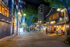 京都,日本- 2017年7月05日:走在西龟市场外面上的未认出的人民在京都 库存图片