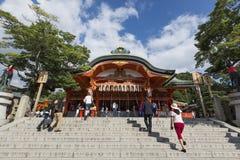 京都,日本- 2016年10月6日:Fushimi Inari寺庙的,京都,日本提供的大厅 库存图片