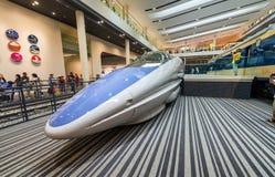 京都,日本- 2016年5月30日:Shinkansen火车里面铁路Mus 免版税库存图片