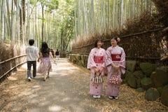 京都,日本- 5月16日Arashiyama竹森林的两个和服女孩2014年5月16日在Arashiyama,京都,日本Arashiyama是 图库摄影
