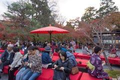 京都,日本- 11月24 :在Eikando寺庙的秋天叶子在Novem 免版税库存照片