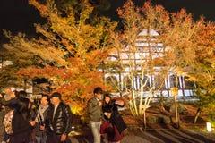 京都,日本- 11月24 :在Eikando寺庙的秋天叶子在Novem 图库摄影