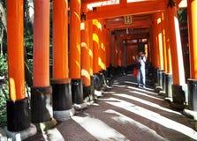 京都,日本- 2012年10月23日: 一个人为torii门照相在 免版税库存照片