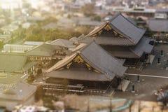 京都` s Higashi Honganji寺庙鸟瞰图  建于 免版税库存照片