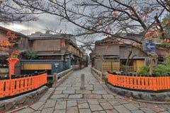 京都Gion白川町地区在早晨 库存图片