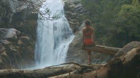 亭亭玉立的女孩坐在峡谷的日志反对瀑布 股票录像