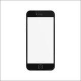 黑亭亭玉立的智能手机iphon样式的新版本与空白的白色屏幕的 免版税库存照片