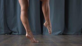 亭亭玉立的腿慢慢地调低作为在阶段的一根羽毛 影视素材