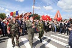 亲俄国支持者到达基希纳乌纪念品 库存照片