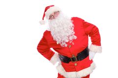 亲切的圣诞老人,隔绝在白色背景 库存照片