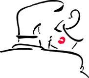 亲吻人的例证导航妇女 免版税库存图片