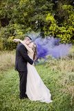 亲吻在有紫色烟的森林里的新娘和新郎 图库摄影