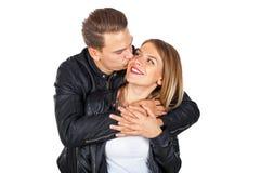 亲吻愉快的夫妇拥抱和 库存图片